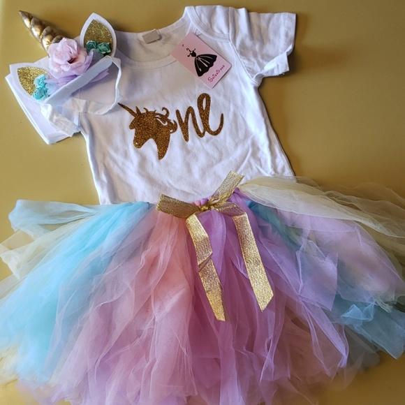 61bdf023f6cef NWT Baby's First Birthday Unicorn Tutu Set 12-18mo Boutique